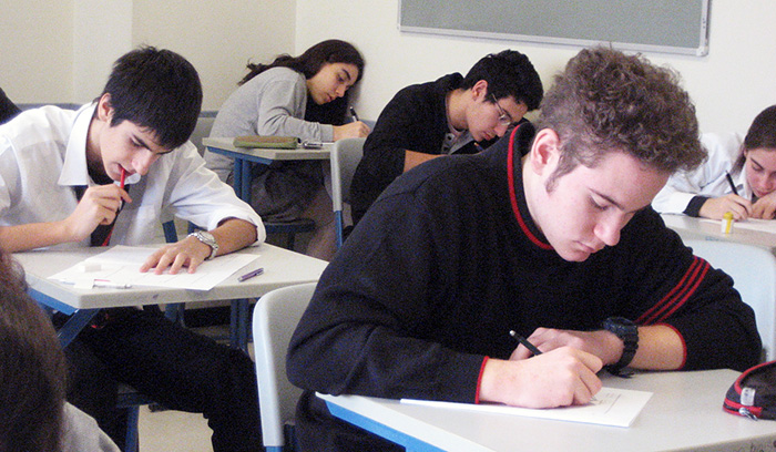 Students writing a test
