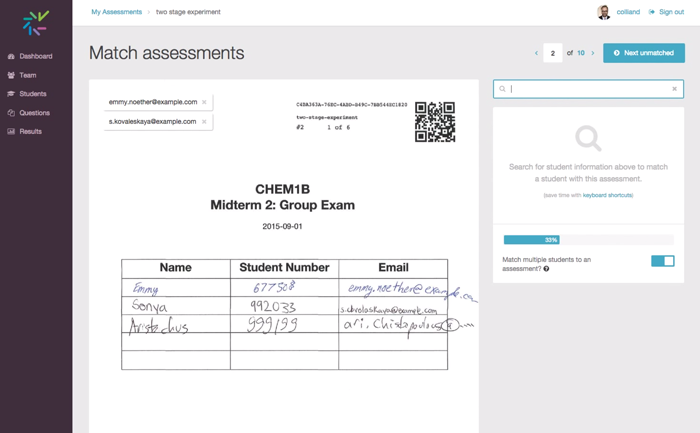 Interface for matching two stage exams