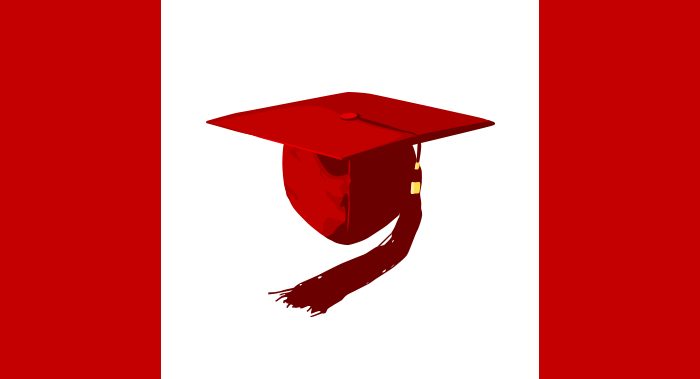Canadian flag with graduation cap