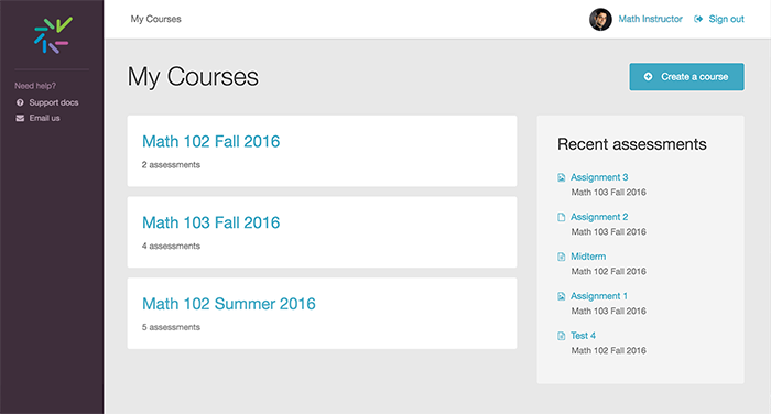 Screenshot of My Courses page
