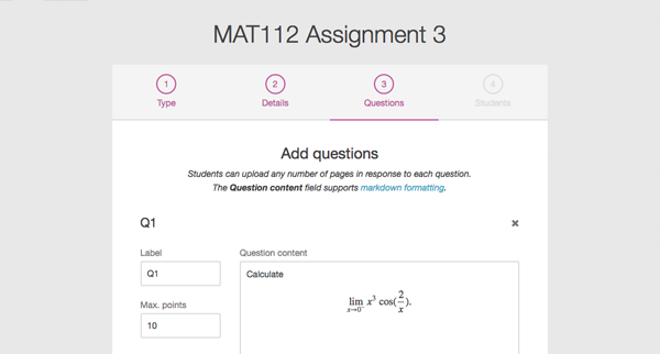 Screenshot of adding assignment questions during the assessment setup
