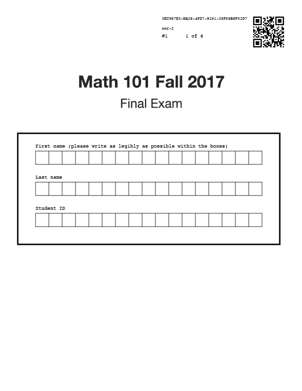 Example cover page with OCR fields