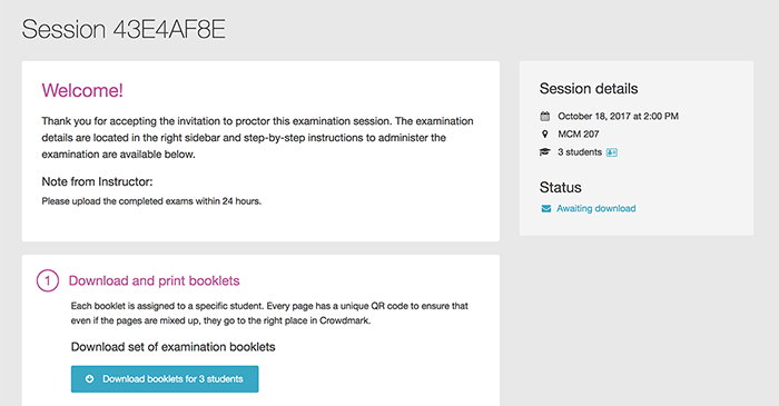 Screenshot of proctor's exam session page