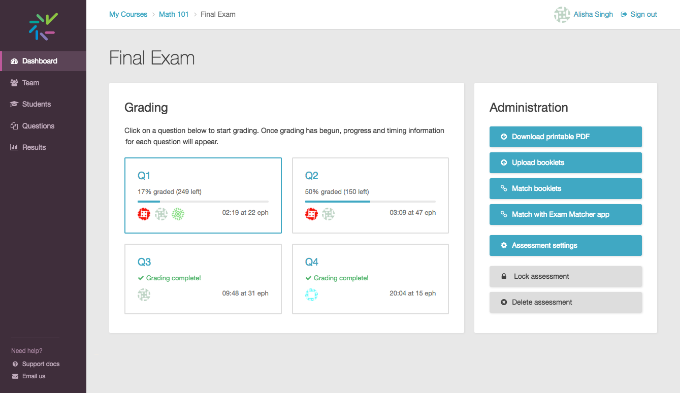 Screenshot of assessment Dashboard with new question boxes instead of grading progress table