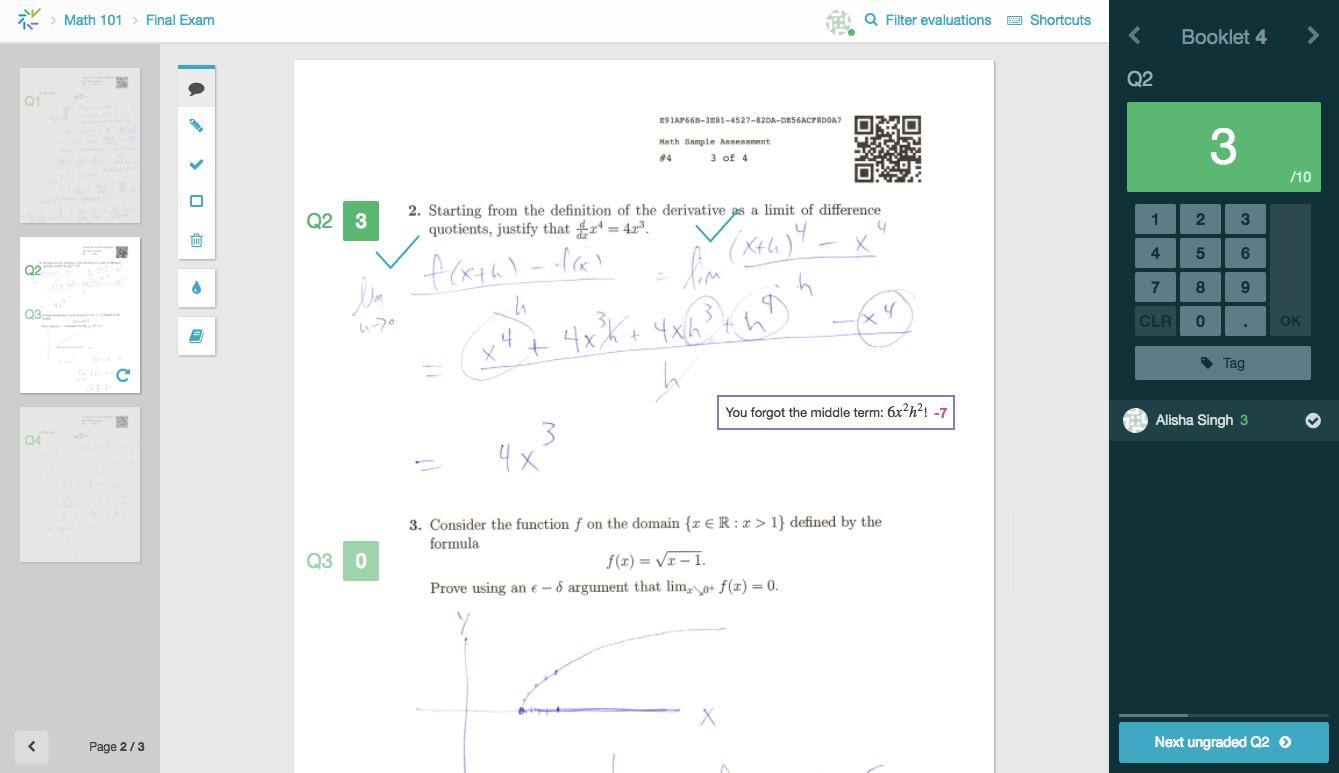 Screenshot of new flexible grading interface