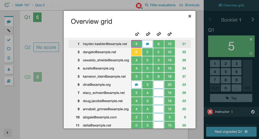 Screenshot of the new grading grid