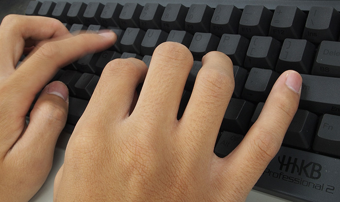 Typing on a computer keyboard