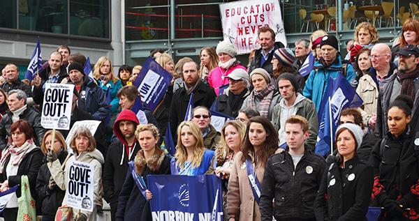 Teachers at a strike rally in Norfolk
