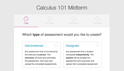 Choosing an assessment type while setting up a Crowdmark assessment